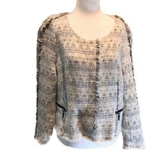 """""""ZARA BASIC"""" Tweed Fringed Short Ladies Jacket ."""